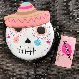 NWT Betsey Johnson Sugar Skull coin purse/wristlet